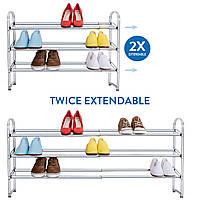 Подставка для обуви Tatkraft Maestro раздвижная 3х ярусная из хромированной стали 64.5х118.5х53.5х22.5(13445)