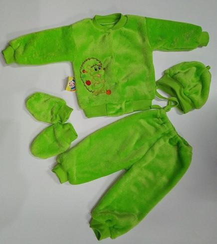 Костюм махровый на новорожденного   24 зеленый  р 4 предмета арт 1081.