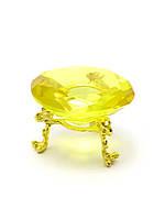 Кристалл хрустальный на подставке желтый 6 см