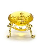 Кристалл хрустальный на подставке желтый 5 см