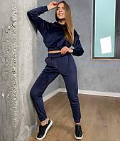 Женский синий велюровый спортивный костюм, фото 1
