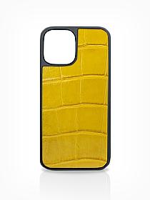 Чехол для iPhone 12 жёлтого цвета из кожи Крокодила