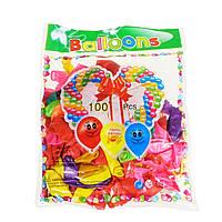 Набір латексних повітряних кульок для надування повітрям або гелієм 100 шт різнобарвних