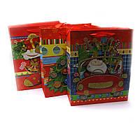 Пакет подарочный с апликацией Новый год  12 шт/уп  32х26 см