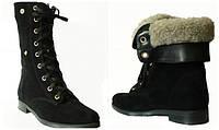 Замшевые ботинки на шнурках, возможен отшив в коже
