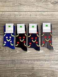 Шкарпетки Montebello жіночі високі з веселкою і сердечками яскравий принт 36-40 12 шт в уп