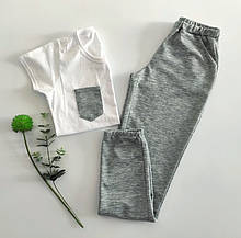 Домашний костюм-пижама с хлопкового трикотажа, футболка и штаны