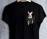 """Чорні Футболки білі """"Кішка в кишеньці"""", фото 2"""