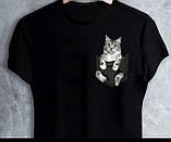 """Чорні Футболки білі """"Кішка в кишеньці"""", фото 4"""
