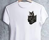 """Чорні Футболки білі """"Кішка в кишеньці"""", фото 7"""