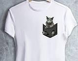 """Чорні Футболки білі """"Кішка в кишеньці"""", фото 8"""