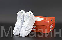 Женские мужские кроссовки Air Jordan 1 Mid White Найк Аир Джордан 1 белые 554724-126, фото 2