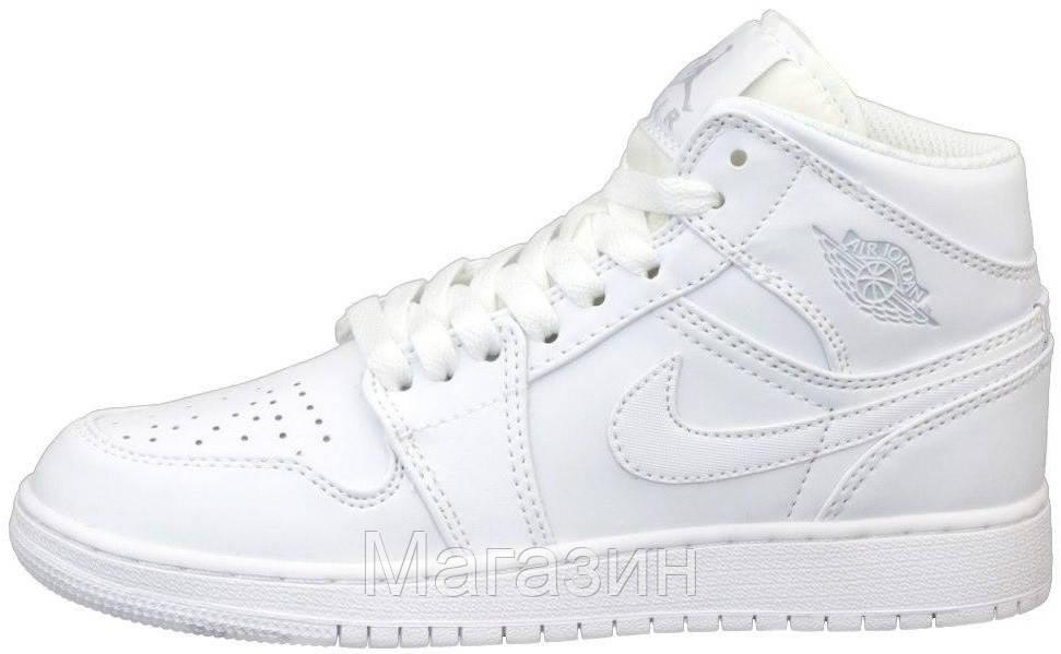 Женские мужские кроссовки Air Jordan 1 Mid White Найк Аир Джордан 1 белые 554724-126