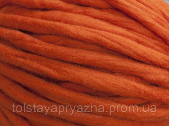 Толстая пряжа ручного прядения Elina Tolina  100100% шерсть (обработана), оранж, фото 2