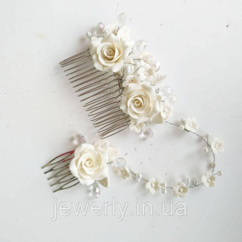 Подвійний весільний гребінь з трояндами
