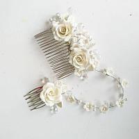 Подвійний весільний гребінь з трояндами, фото 1