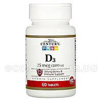 """Витамин D-3 """"21st Century"""" 25 мкг (1000 МЕ) 60 таблеток"""