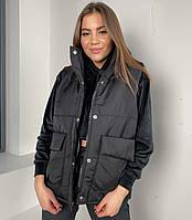 Женская стёганая чёрная жилетка, фото 1