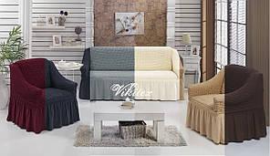 Комплект чехлов на диван с креслами жатка-креш с рюшей