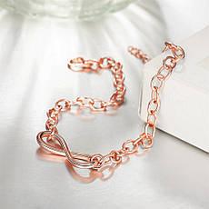 Позолочений жіночий браслет, ланцюжок на руку Нескінченність, фото 2