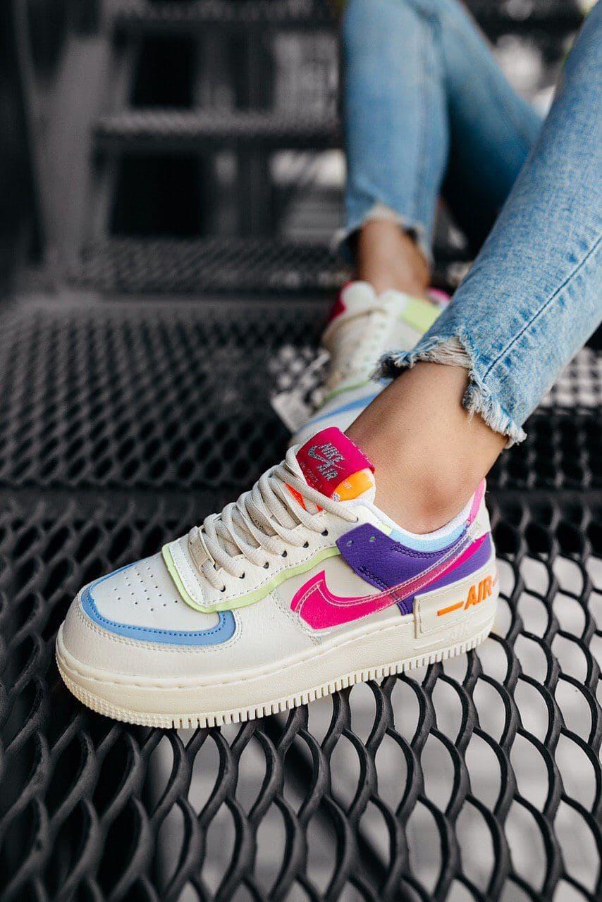 Женские кроссовки в стиле Nike Air Force Shadow White Pink, Найк Аир Форс (Реплика ААА)