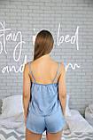 Домашня піжама з шовку, блакитна майка з шортами, фото 3