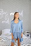 Домашня піжама з шовку, блакитна майка з шортами, фото 4