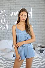 Домашняя пижама с шелка, голубая майка с шортами