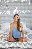 Домашня піжама з шовку, блакитна майка з шортами, фото 2