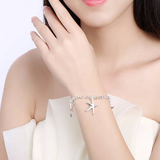 Витончений жіночий браслет, ланцюжок на руку Морські зірки покриття срібло, фото 2
