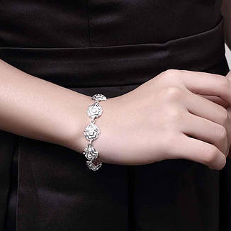 Браслет ручной женский Нежный цветок покрытие стерлинговое серебро, фото 2