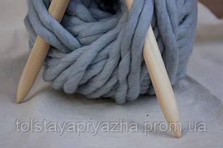 Толстая пряжа ручного прядения Elina Tolina  100% шерсть (обработана), перламутр, фото 3