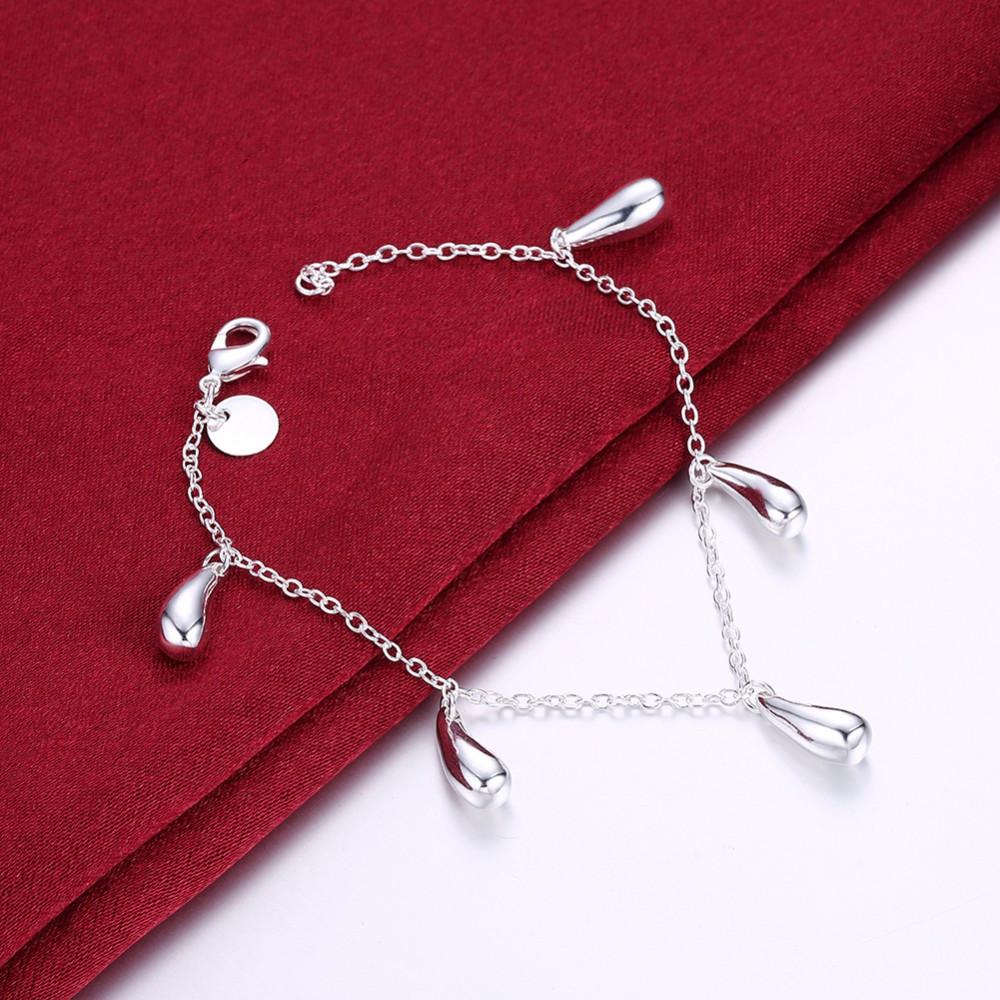 """Браслет цепочка на руку женский с подвесками покрытие стерлинговое серебро 925 """"Капельки"""""""