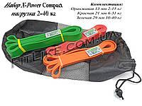 """Резина набор 2кг-40кг """"X-Power Compact"""" (3-и резиновые петли) для тренировок, фитнеса, кроссфита, подтягиваний"""