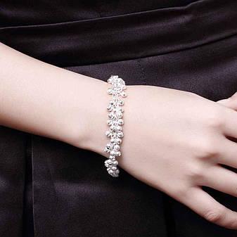 """Красивый женский браслет на руку покрытие серебро 925 """"Матовые гроздья"""", фото 2"""