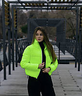 Куртка женская весенняя осенняя демисезонная Bubble желтая | Пуховик женский демисезонный ЛЮКС качества