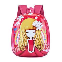 Дитячий рюкзак Lesko DK-13 Дівчинка з твердим корпусом принтом