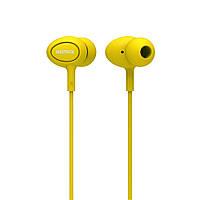 Наушники гарнитура Remax RM-515 Candy Series 3.5mm mic для iPhone Samsung LG желтый