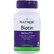 Биотин, Biotin, Natrol, 1000 мкг, 100 таблеток
