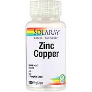 Цинк и Медь, Zinc Copper, Solaray, 100 вегетарианских капсул