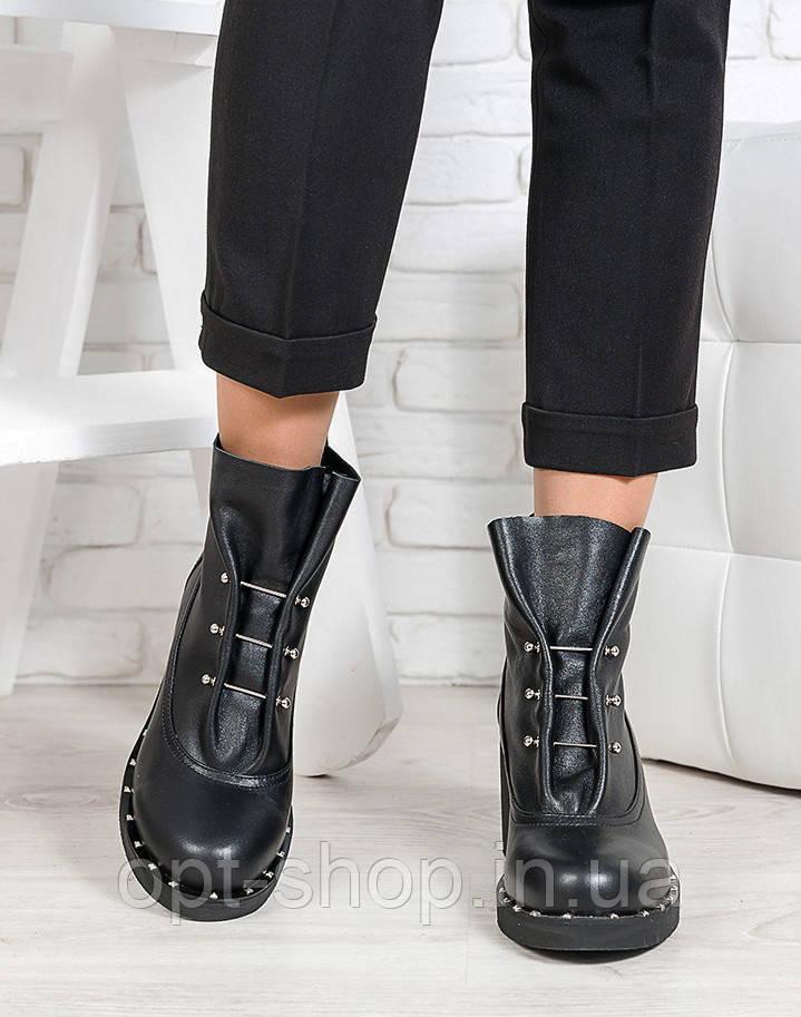 Ботинки женские демисезонные кожаные, ботильоны женские кожаные на толстом каблуке