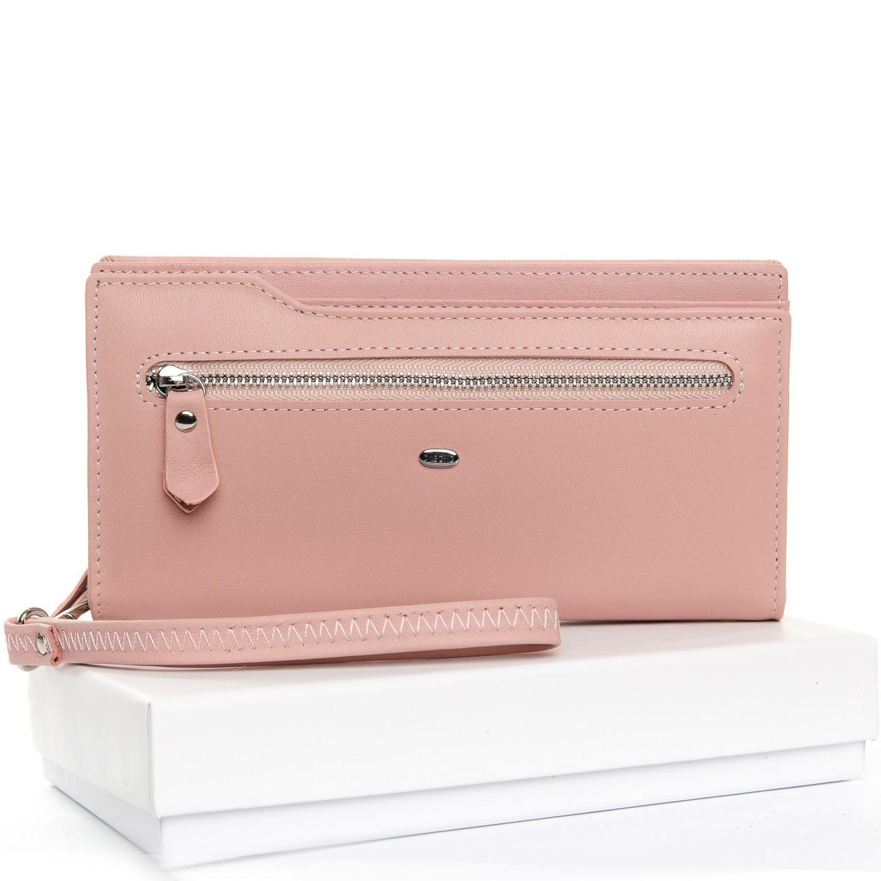 Кожаный кошелек женский большой на молнии с картхолдером нежно розовый Dr.Bond WMB-2M