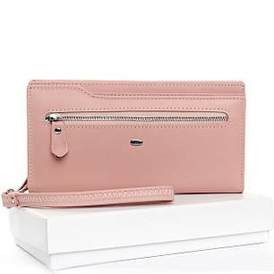 Кожаный кошелек женский большой на молнии с картхолдером нежно розовый Dr.Bond WMB-2M, фото 2