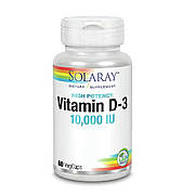 Витамин D-3 10000 IU Solaray 60 Капсул
