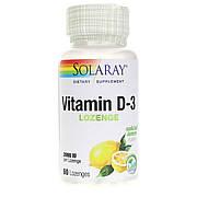 Витамин D3, 2000 МЕ, Со Вкусом Лимона, Solaray, 60 Леденцов