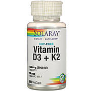 Витамин D3 + K2, Solaray, Soy-Free, 60 Вегетарианских Капсул