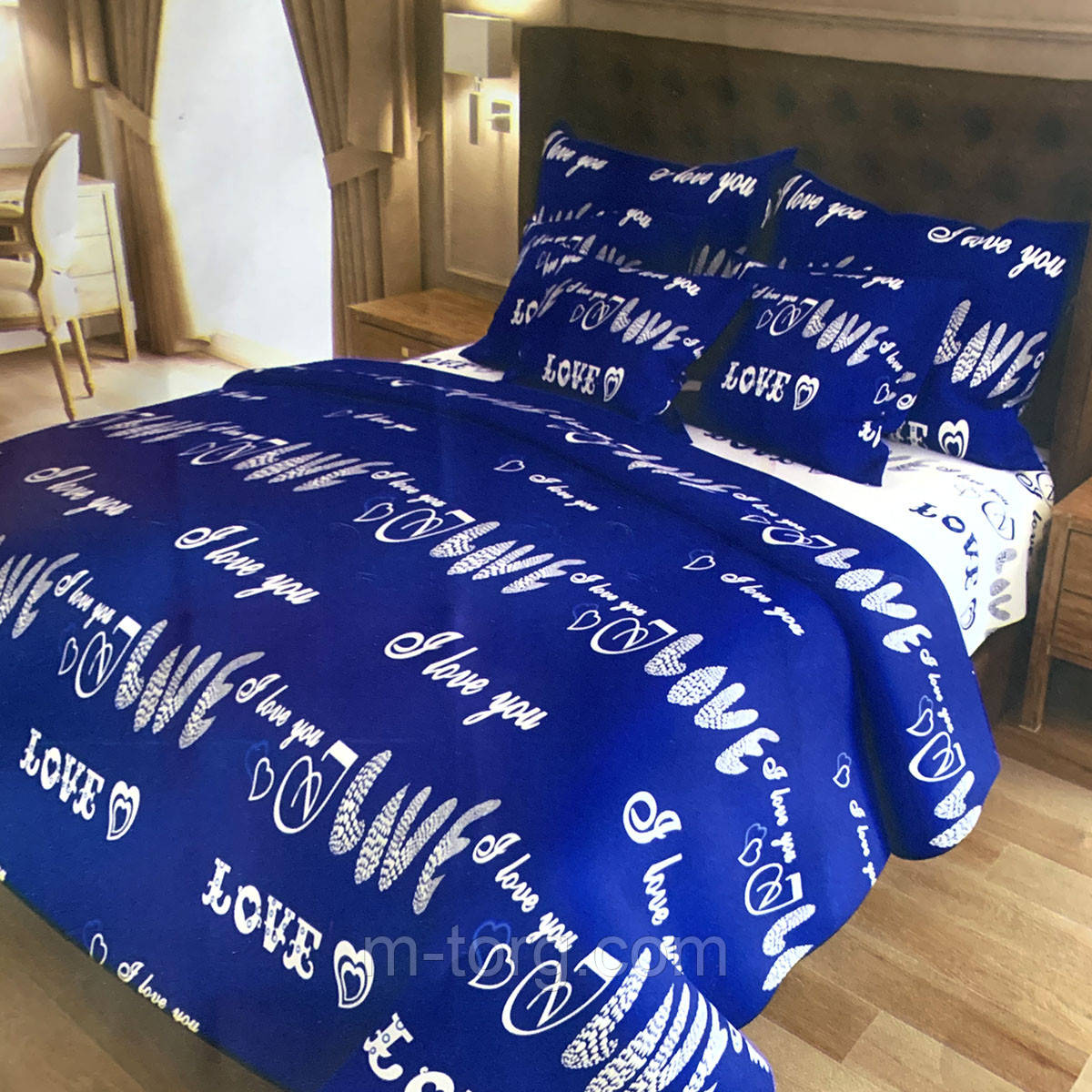 """""""лов"""" комплект постельного белья полуторный 150/210 см, нав-ки 70/70, ткань сатин, 100% состоит из хлопка"""