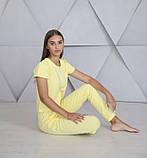 Домашний костюм-пижама, штаны с футболкой в желтом цвете, фото 2