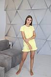 Домашній костюм-піжама з м'якого трикотажу в жовтому кольорі, футболка і шорти, фото 2