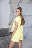 Домашній костюм-піжама з м'якого трикотажу в жовтому кольорі, футболка і шорти, фото 3